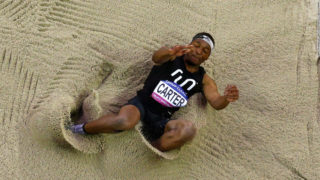 Chris Carter competes in the triple jump at the Glasgow Indoor Grand Prix on Saturday, February 20. He finished second behind fellow American Omar Craddock.