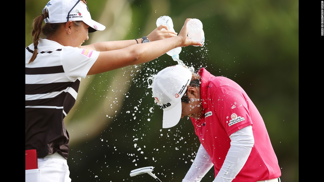 Lydia Ko dumps water on Haru Nomura after Nomura won the Women's Australian Open on Sunday, February 21. It was the first LPGA victory for Nomura.