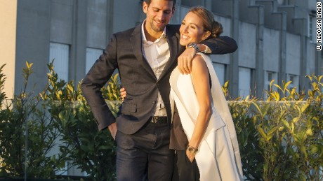 Djokovic pictured with his wife Jelena.