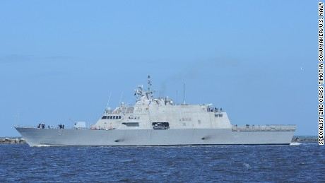 160219-N-UK306-011 JACKSONVILLE, Fla. (Feb. 19, 2016) Freedom-variant littoral combat ship USS Milwaukee (LCS 5) transits Naval Station Mayport Harbor on its way into port for a maintenance period. While in Mayport, it will take on equipment for underway testing this spring, before eventually arriving in its San Diego homeport. (U.S. Navy photo by Mass Communication Specialist 2nd Class Timothy Schumaker/Released)