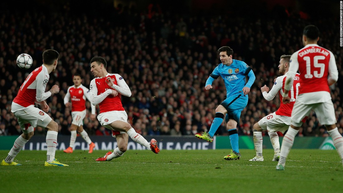 Barcelona, the defending champion, went up against Arsenal in the first leg of its last 16 Champions League tie in London. Lionel Messi lined up alongside Luis Suarez and Neymar as the visitors went with its attacking trio known as 'MSN'.