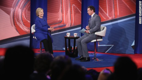 Hillary Clinton participates in a Town Hall meeting hosted by CNN and moderated by Chris Cuomo at the University of South Carolina on February 23, 2016, in Columbia, South Carolina.