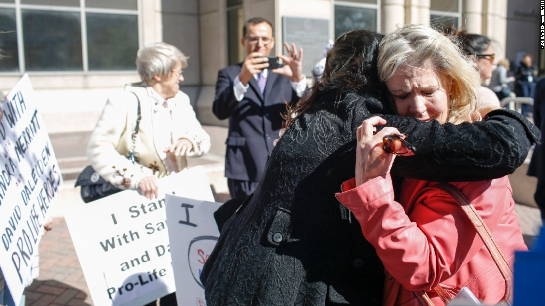 Texas again became the focus of the abortion debate after a group produced a series of videos depicting Planned Parenthood officials appearing to talk about the price of fetal tissue. But an investigation into the allegations backfired on the accusers when prosecutors cleared Planned Parenthood -- and instead indicted two people involved in making the video. Above, one of the two defendants, Sandra Merritt, right, hugs a supporter after appearing in court to post bond on February 3, 2016.