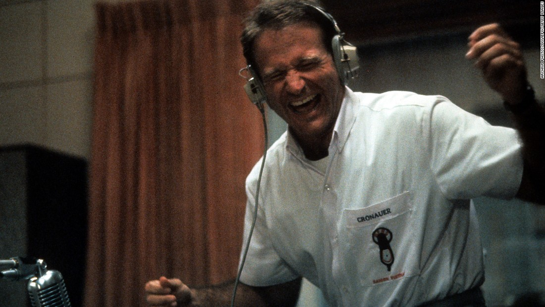 "<strong>""Good Morning Vietnam"": </strong>There's a plot in here somewhere, but really the 1987 film was a star vehicle for Robin Williams who transformed the true story of an Army disc jockey into a laugh-out-loud showcase for his one-of-a-kind sense of humor. Williams played Adrian Cronauer, a real-life soldier who was transferred to Saigon during the Vietnam War with the assignment of bringing some color to Armed Forces Radio. Oh he did that, and more, with Williams winning a Best Actor nomination. The film, directed by Barry Levinson, is one of several '80s pictures to tackle the legacy of Vietnam. Some of Williams' best routines as the irreverent Cronauer took aim at the government's logic in pursuing the war, but the line most recalled from the film comes when the star leans into the microphone and shouts, ""Good morning Vietnam!""<br />"