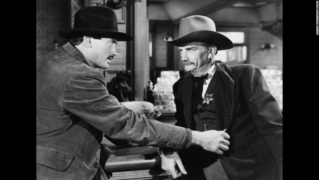 "<strong>""The Gunfighter""</strong>: Gregory Peck (here grabbing the lapel of Millard Mitchell) is a gunfighter looking for love who finds trouble instead in this 1950 classic. <strong>(Amazon Prime)</strong>"