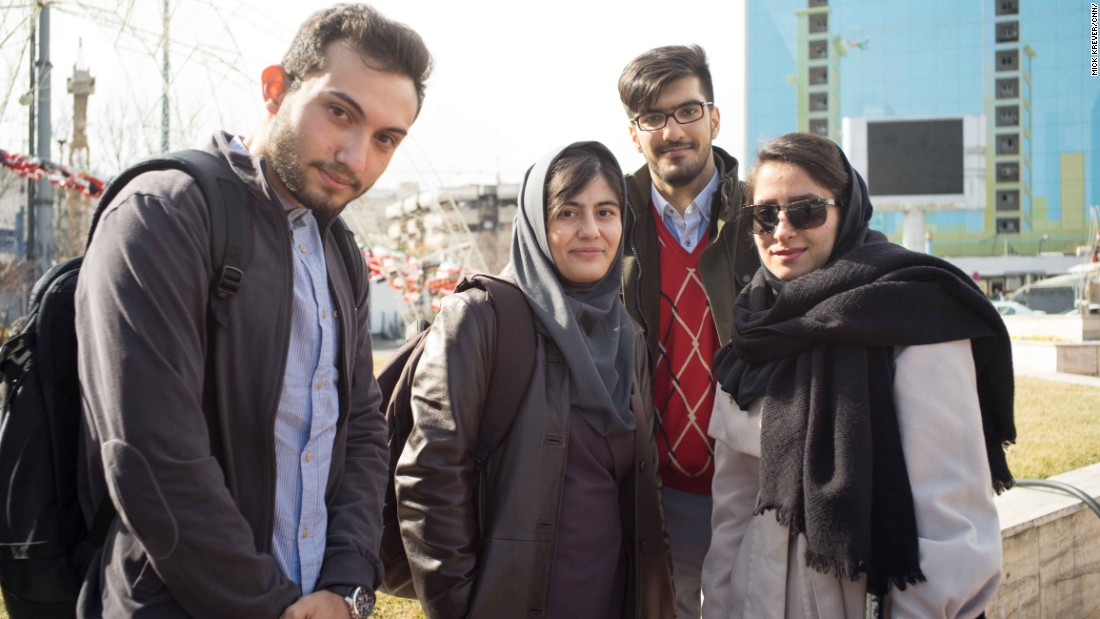 These young Iranians in Tehran's Vanak Square said they support Rouhani, a moderate who has helped open up his country more to the world since taking office in 2013.