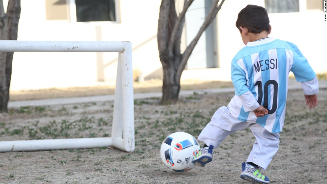 Murtaza emulates his hero as he scores a goal wearing the Argentina captain's shirt.
