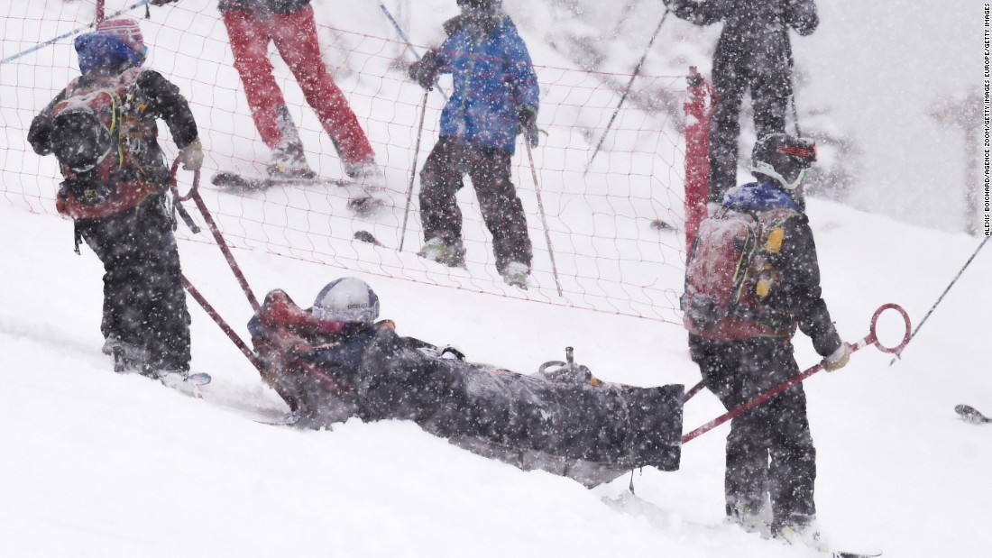 Lindsey Vonn is stretchered away on a sled after crashing out of the FIS Alpine Ski World Cup women's Super-G in Soldeu, Andorra.