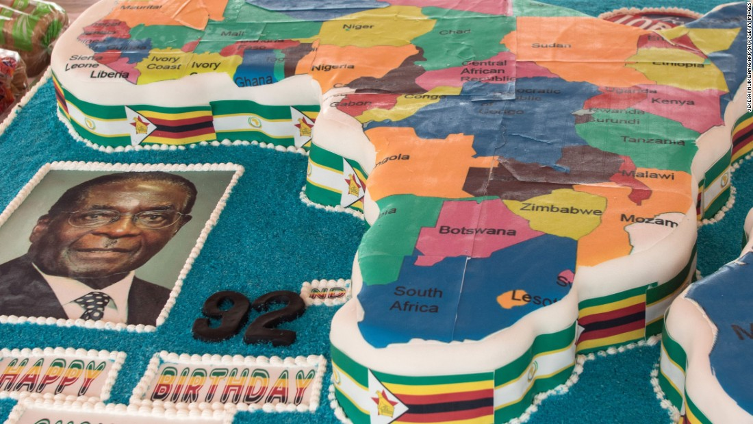 Another birthday cake presented for Mugabe's 92nd birthday, this time in the shape of a map of Africa, during an event at the Great Zimbabwe monument in Masvingo on February 27, 2016. Nearly 2.5 million Zimbabweans are facing food shortages.