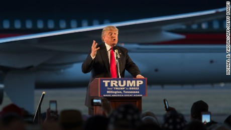 Republican presidential candidate Donald Trump addresses a rally at Millington Regional Jetport on February 27, in Millington, Tennessee.