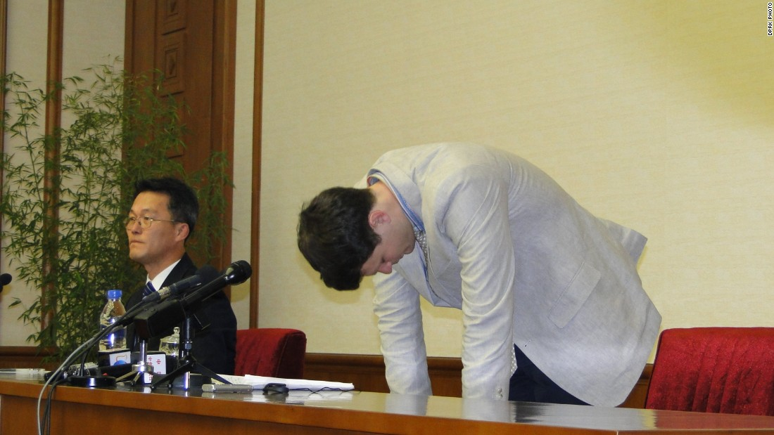 "Warmbier bowed, apologizing to ""the Korean people"" and said he was manipulated by the U.S. government."