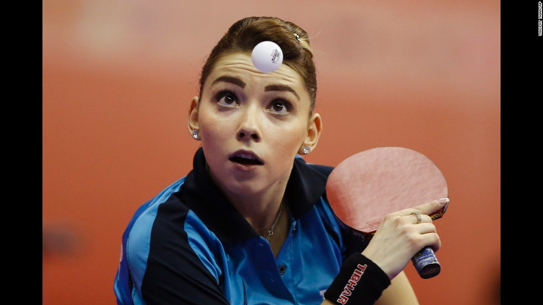 Bernadette Szocs, a Romanian table-tennis player, focuses on the ball Monday, February 29, during the World Team Table Tennis Championships. The tournament is taking place in Kuala Lumpur, Malaysia.