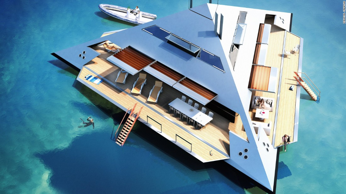 "Unspillled coffee is not the only luxury guests on board will be able to enjoy. When docked, the Tetrahedron's three sides can fold down to become enlarged sun decks boasting an outdoor dining area and easy access to the water, while horizontal panels  emerge overhead to provide shade.<br /><br />""It's a private island with openable 'beaches' to the sea,"" Schwinge says, adding that the vessel will preserve the traditional luxury of yachts but possess a ""super-lightweight special interior"" similar to private jets."