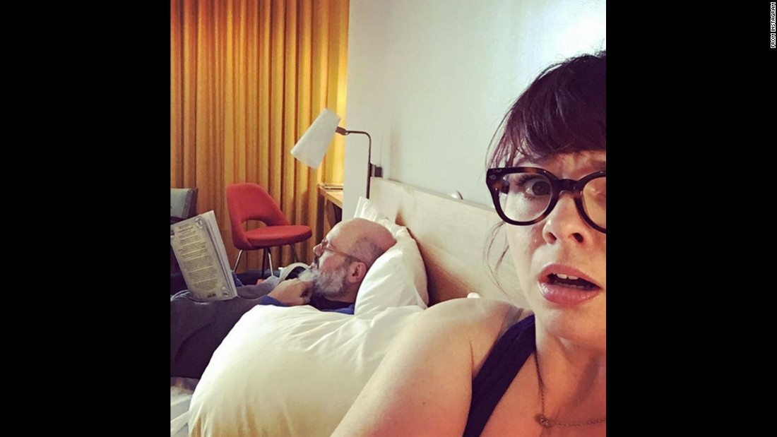 "Actress Amber Tamblyn appears frightened in this selfie she took in North Carolina on Wednesday, February 24. ""SOUTHERN CALIFORNIA GIRL FREAKS OUT OVER TORNADO WARNING IN DURHAM AS SUPER CHILL #worsthusbandever JUST READS A BOOK,"" <a href=""https://www.instagram.com/p/BCLzyjinRyy/"" target=""_blank"">she wrote on Instagram.</a>"