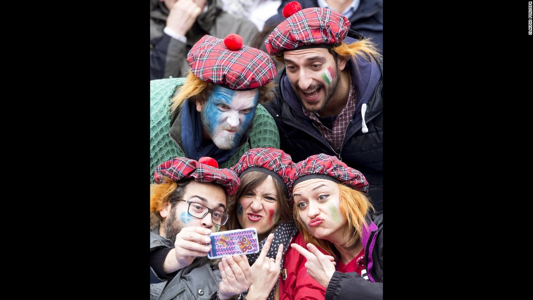 Rugby fans pose for a selfie in Rome before the Six Nations match between Italy and Scotland on Saturday, February 27.