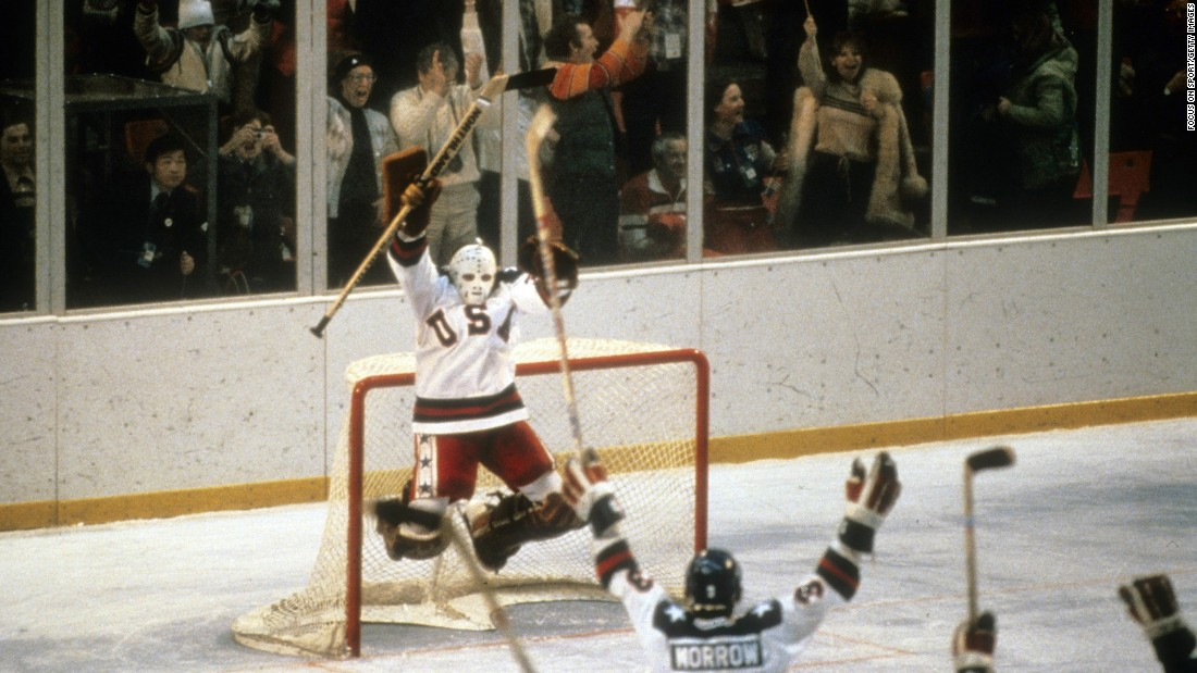 "<strong>'Miracle on Ice':</strong> On February 22, 1980, a U.S. hockey team made up of <a href=""http://espn.go.com/classic/s/miracle_ice_1980.html"" target=""_blank"">college players and amateurs</a> defeated the perennially favored Soviet Union in the semifinals of the Winter Olympics. Sports Illustrated recognized it as the <a href=""http://olympics.usahockey.com/page/show/1093459-1980-olympic-winter-games"" target=""_blank"">No. 1 sports moment</a> of the 20th century. The Americans went on to win the gold in front of a home crowd in Lake Placid, New York."
