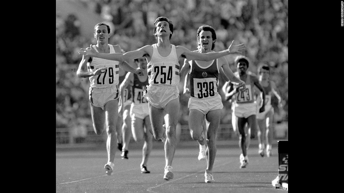 <strong>Olympic upset in Moscow:</strong> British runner Sebastian Coe crosses the finish line to win the 1,500-meter final at the 1980 Summer Olympics in Moscow. This was considered a huge upset and one of the most memorable moments of that year's Games. Coe later entered politics and led London's winning bid for the 2012 Olympic Games.