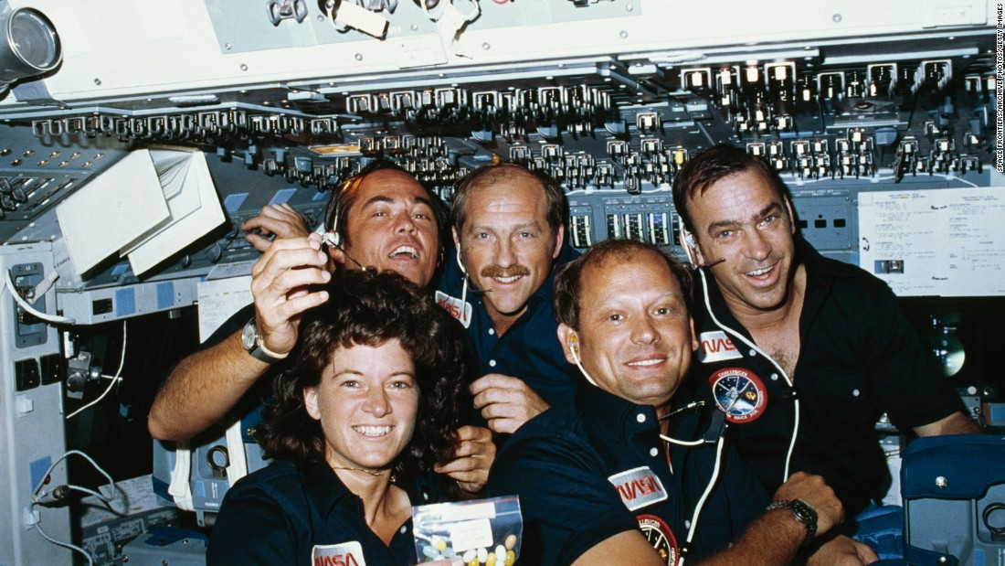 "<strong>Space firsts:</strong> NASA's STS-7 crew poses in space during a June 1983 mission to deploy communications satellites into orbit. The weeklong mission was notable for a couple of <a href=""https://www.nasa.gov/topics/people/galleries/ride2.html"" target=""_blank"">reasons:</a> It was the first to employ a five-member team of astronauts."