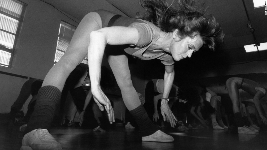 "<strong>Workout queen in action:</strong> Actress Jane Fonda takes part in a exercise class at her Beverly Hills, California, studio in December 1983. Fonda released her first exercise video, ""The Jane Fonda Workout,"" in 1982 and became a <a href=""http://www.cnn.com/2012/12/04/health/jane-fonda-qa/"" target=""_blank"">fitness phenomenon.</a>"
