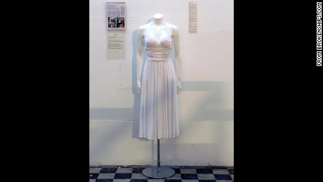 A wedding dress is on display in the museum in Zagreb, Croatia.