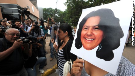 Activists protest the killing of Honduran environmental activist Berta Cáceres.