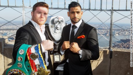 Who will win? Reighing champ and Mexican fighter Saul 'Canelo' Alvarez, and British Muslim boxer Amir Khan