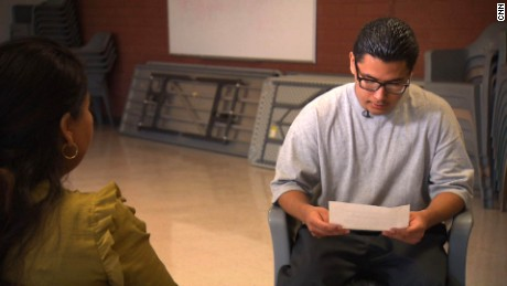 Carlos Adrian Vzquez  Jr., 18, reads the letter he wrote to Pope Francis.