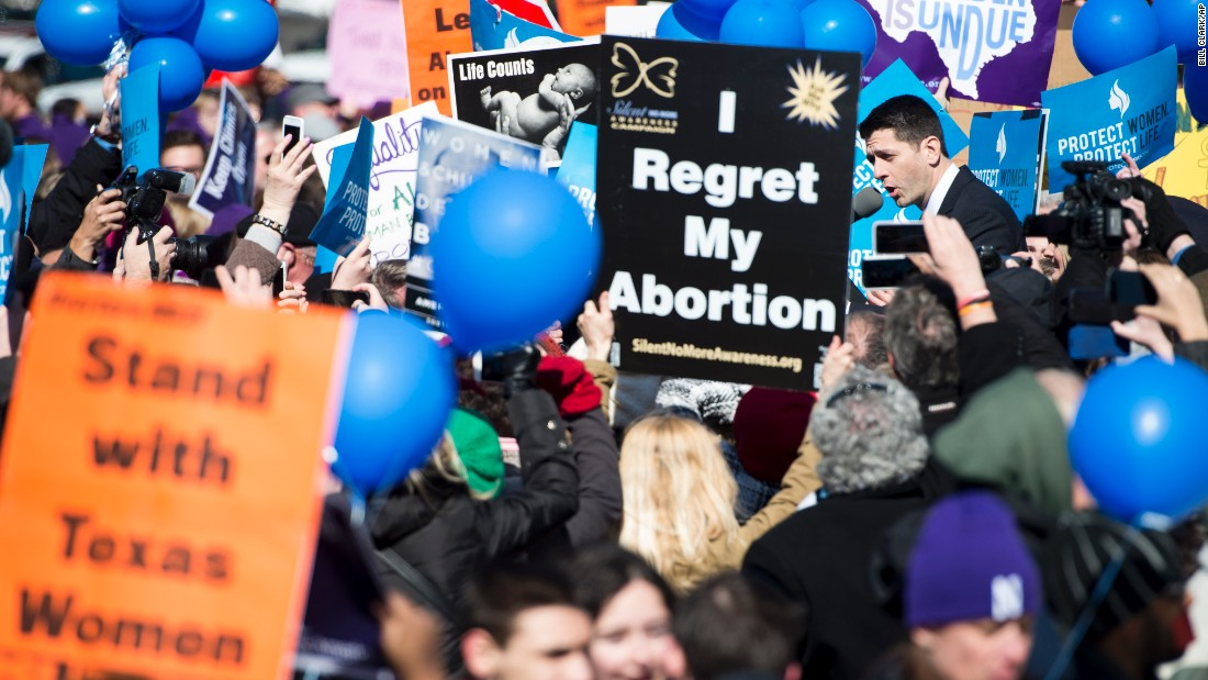 "House Speaker Paul Ryan, top right, speaks to anti-abortion protesters outside the U.S. Supreme Court on Wednesday, March 2. The court is examining a <a href=""http://www.cnn.com/2016/03/02/politics/supreme-court-abortion-texas/index.html"" target=""_blank"">Texas abortion law</a> that could shutter all but about 10 clinics in the state."