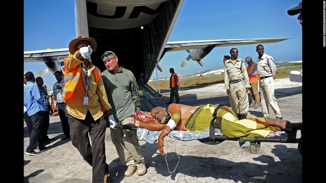 "A wounded man is transported by U.N. medical staff on Monday, February 29, a day after <a href=""http://www.cnn.com/2016/02/28/africa/somalia-violence/"" target=""_blank"">twin bomb attacks</a> killed at least 40 people in Baidoa, Somalia. Baidoa is a key location in the African Union's fight against Al-Shabaab, the extremist group that has been terrorizing Somalia and neighboring nations for years."