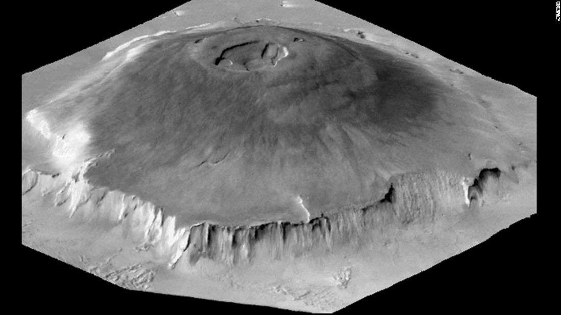 Olympus Mons in the Tharsis Montes region is largest known volcano in our solar system.