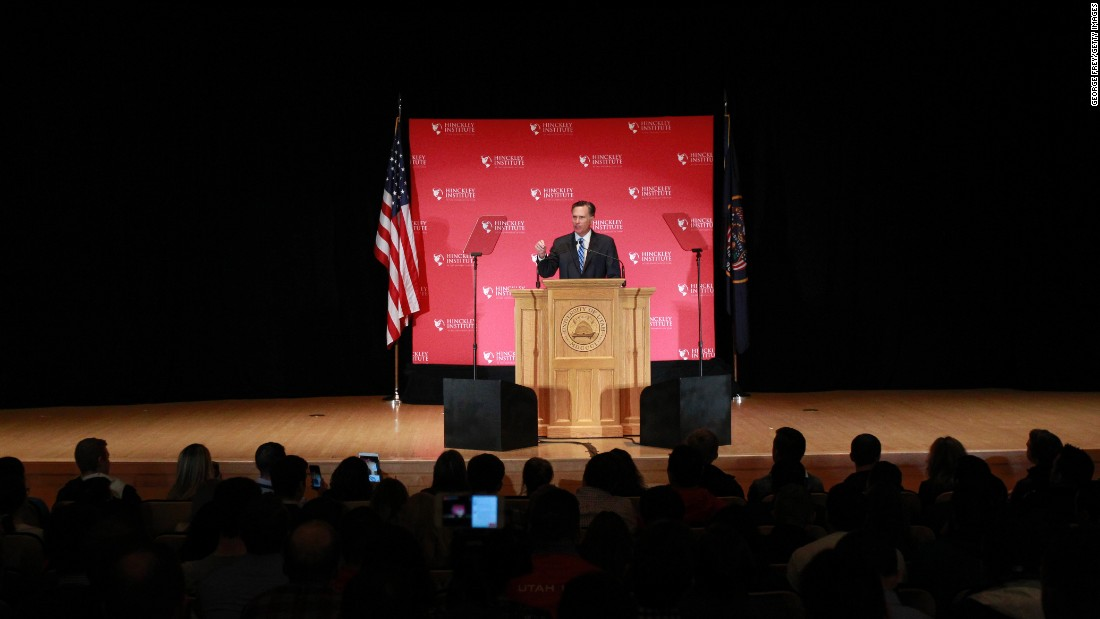 "Former Massachusetts Gov. Mitt Romney gives a speech about the state of the Republican Party during a forum at the University of Utah on Thursday, March 3. Romney <a href=""http://www.cnn.com/2016/03/03/politics/mitt-romney-presidential-race-speech/index.html"" target=""_blank"">went after presidential candidate Donald Trump,</a> calling the GOP's front-runner a phony and a fraud. Trump hit back by mocking Romney's loss in the 2012 election, and he said that Romney back then ""was begging for my endorsement."" <a href=""http://www.cnn.com/2016/02/26/world/gallery/week-in-photos-0226/index.html"" target=""_blank"">See last week in 36 photos</a>"