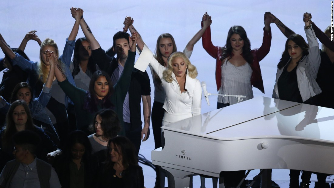 "Lady Gaga performs at the Academy Awards on Sunday, February 28. She was <a href=""http://www.cnn.com/2016/02/29/entertainment/lady-gaga-performance-oscars-feat/"" target=""_blank"">joined on stage by other sexual-assault survivors</a> as she sang ""Til It Happens to You,"" the Oscar-nominated song from ""The Hunting Ground."""