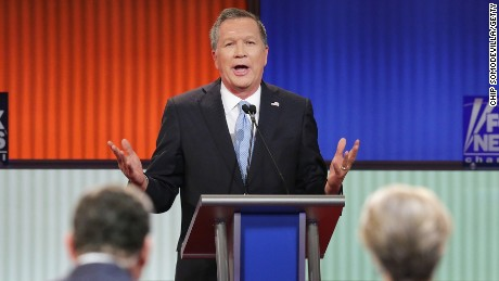 Ohio Gov. John Kasich participates in a debate sponsored by Fox News at the Fox Theatre on March 3, 2016, in Detroit, Michigan.