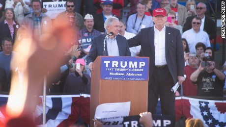 Sen. Jeff Sessions announces his support for Republican presidential candidate Donald Trump during a campaign rally at the Madison City Schools Stadium on February 28, 2016, in Madison, Alabama.