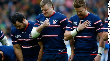 Louis Stanfill (centre) feels the emotion as U.S.A. prepare to take on South Africa at the Rugby World Cup in England in October 2015.