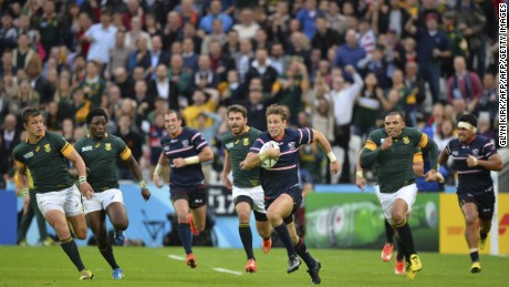USA's Blaine Scully escapes South Africa's clutches during the Rugb World Cup pool match  in London in October 2015.