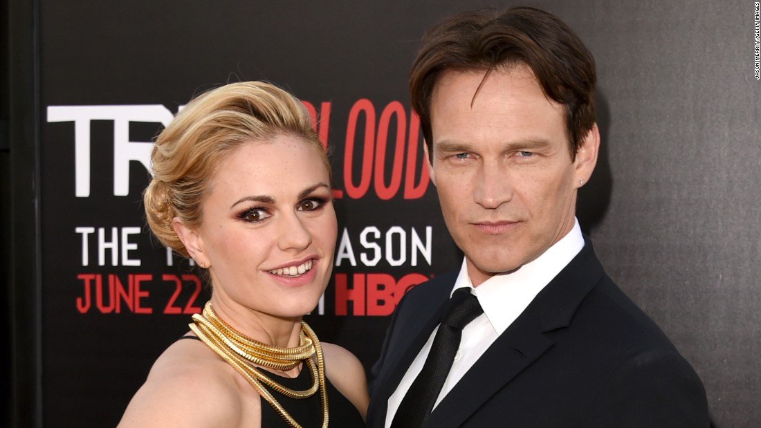 """True Blood"" stars Anna Paquin, 34, and Stephen Moyer, 47, have been married for six years."