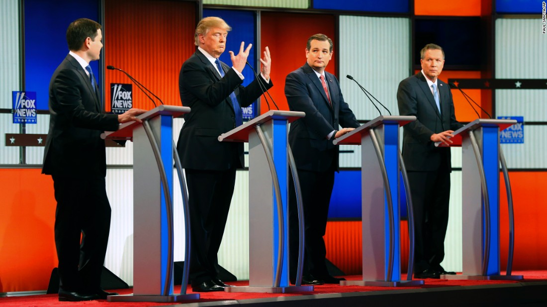 "Republican presidential candidate Donald Trump holds up his hands during a debate in Detroit on Thursday, March 3. <a href=""http://www.cnn.com/2016/03/03/politics/donald-trump-small-hands-marco-rubio/"" target=""_blank"">Trump assured American voters</a> that despite what U.S. Sen. Marco Rubio had suggested, there was ""no problem"" with the size of his hands -- or anything else."