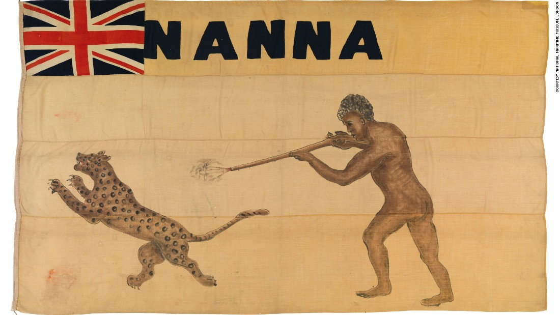 This eye-catching image of a man shooting a leopard dates back to 1894, and is the personal flag of West African Itsekiri chief Nana Olomu. It is one of hundreds of vintage flags housed at the UK's National Maritime Museum.<br />