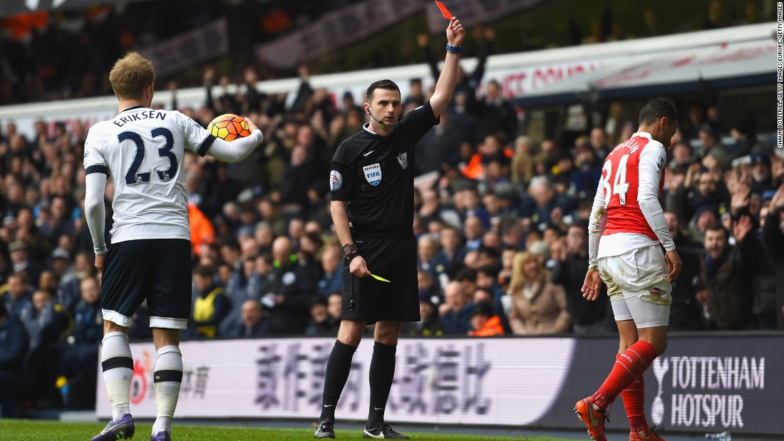 Spurs found a way back into the match when Arsenal's French midfielder Francis Coquelin was sent off just after half time.