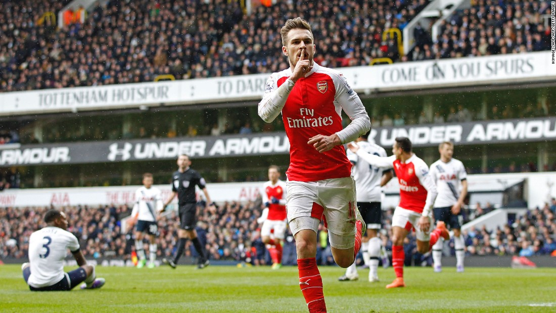 Arsenal's Welsh midfielder Aaron Ramsey opened the scoring for the Gunners late in the first half.