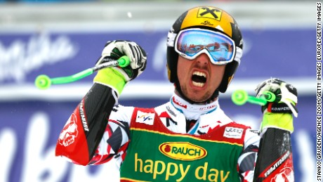 Marcel Hirscher takes first place in the FIS Alpine Ski World Cup men's Giant Slalom in Kranjska Gora, Slovenia.