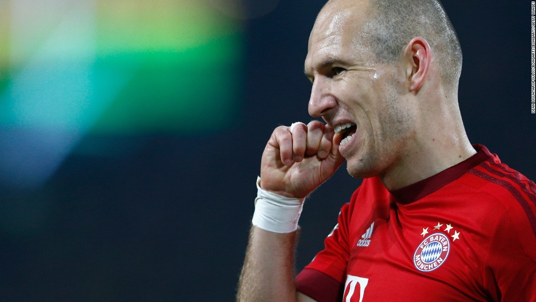 Robben looks frustrated after missing a good second half opportunity for Bayer at the Signal Iduna Park.