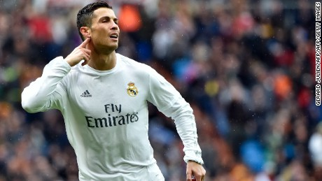 Cristiano Ronaldo gestures as he celebrates a goal during the Spanish league football match Real Madrid and Celta Vigo.