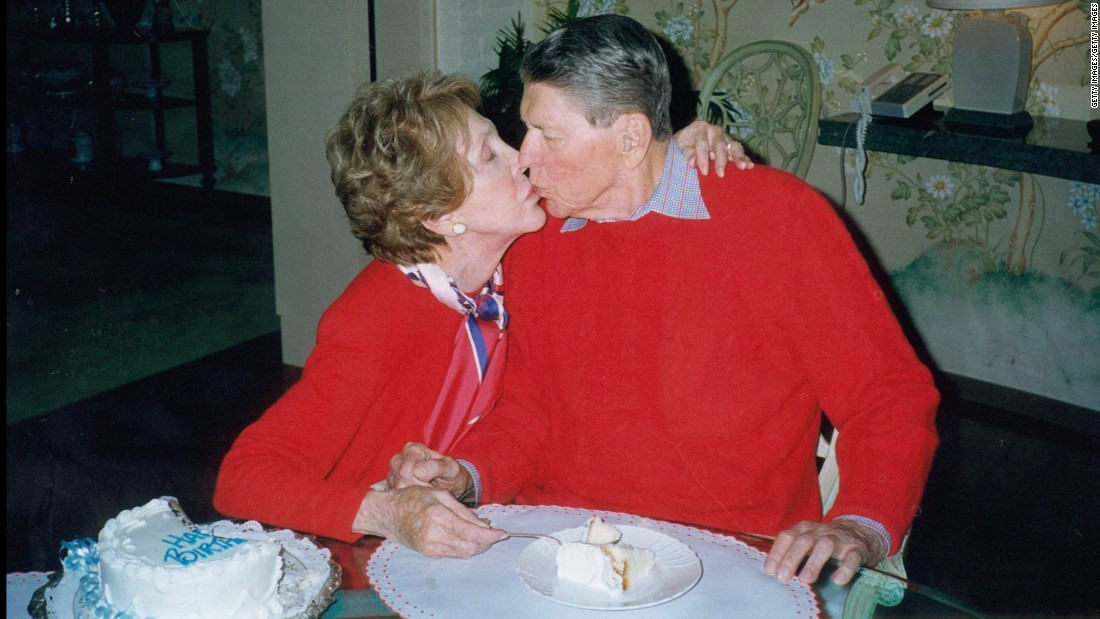 The Reagans celebrate Ronald Reagan's 89th birthday on February 6, 2000, at their home In Bel-Air, California.
