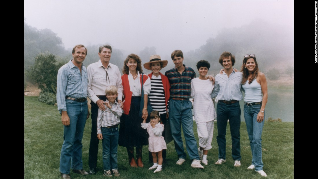 The Reagan family poses outdoors at Nancy's birthday party in  Rancho del Cielo, California, on August 17, 1985.