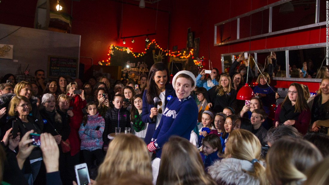 Screenwriter and actress Lena Dunham spoke to a crowd at a Hillary Clinton for President event in January in Manchester, New Hampshire.