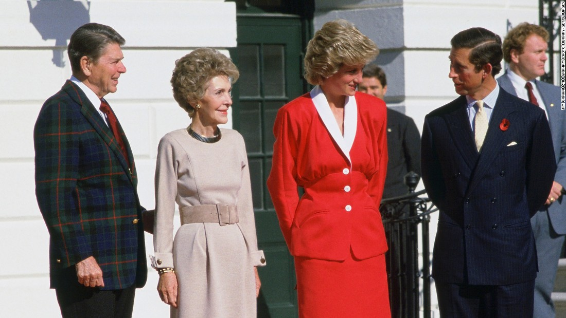 The Reagans meet with Princess Diana and Prince Charles at the White House on November 9, 1985, during the royals' official visit to the United States.