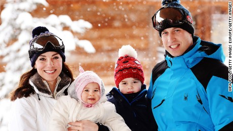 Kate Middleton, Princess Charlotte, Prince George, and Prince William on holiday in the French Alps.
