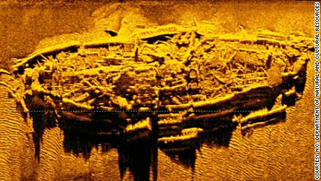 The shipwreck is only a few hundred yards off the North Carolina coast.
